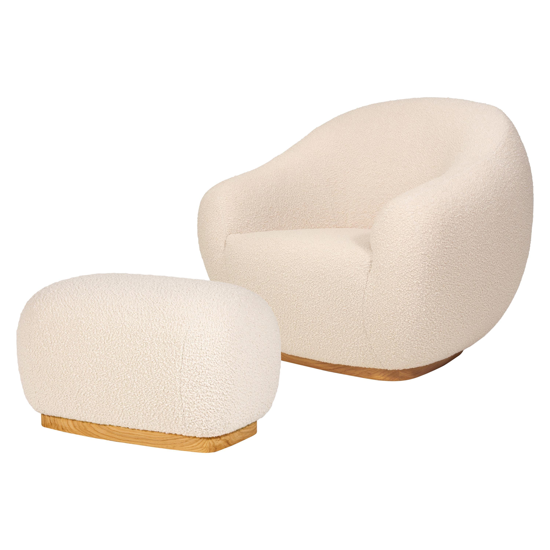 Niemeyer II Armchair and Stool, Bouclé, InsidherLand by Joana Santos Barbosa