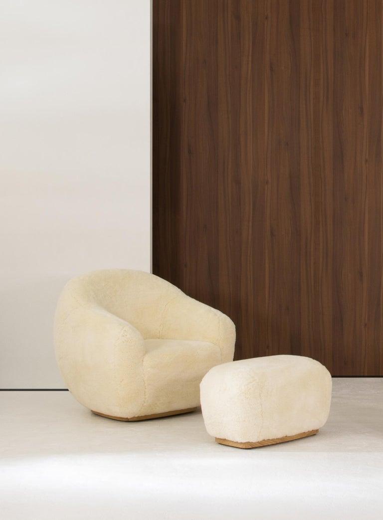 Modern Niemeyer II Armchair and Stool, Fur, InsidherLand by Joana Santos Barbosa For Sale