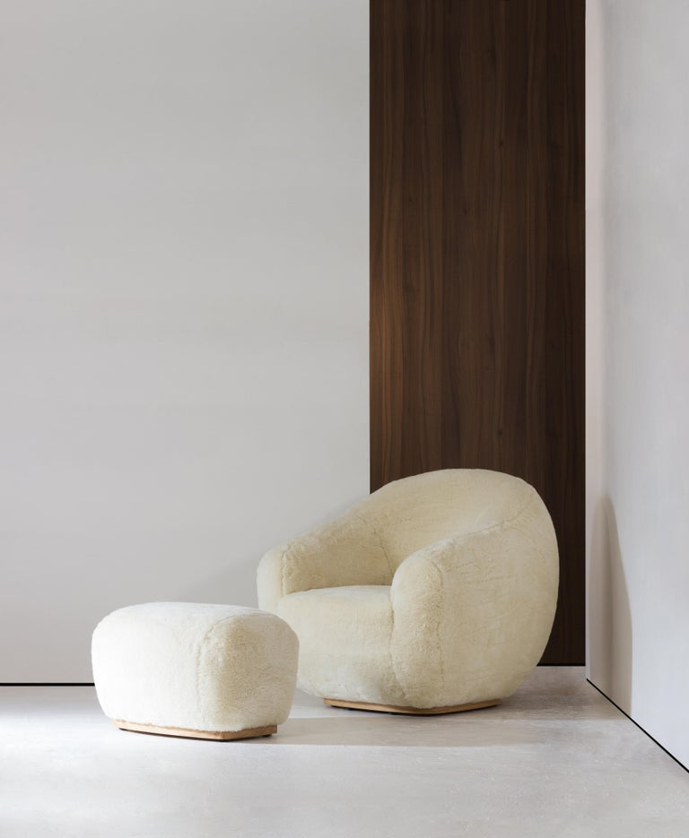 Portuguese Niemeyer II Armchair and Stool, Fur, InsidherLand by Joana Santos Barbosa For Sale