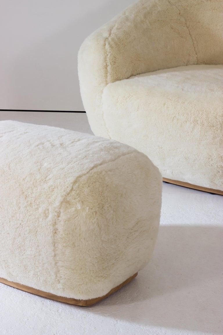 Woodwork Niemeyer II Armchair and Stool, Fur, InsidherLand by Joana Santos Barbosa For Sale