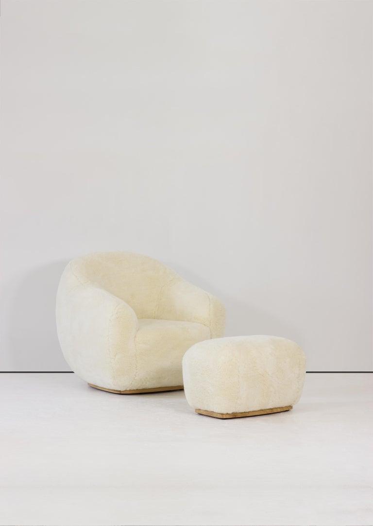Contemporary Niemeyer II Armchair and Stool, Fur, InsidherLand by Joana Santos Barbosa For Sale