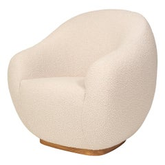 Niemeyer II Solid Base Midcentury Inspired Bouclé Fabric Armchair