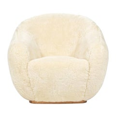 Niemeyer III Oak Base Midcentury Inspired Fur Covered Armchair