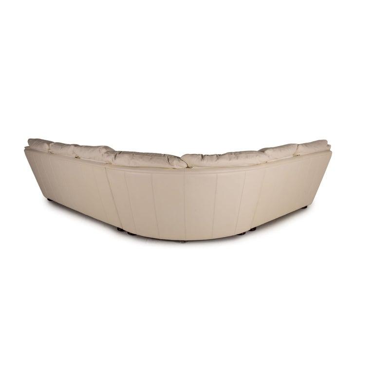 Nieri Corniche Leather Sofa Cream Corner Sofa Couch For Sale 4