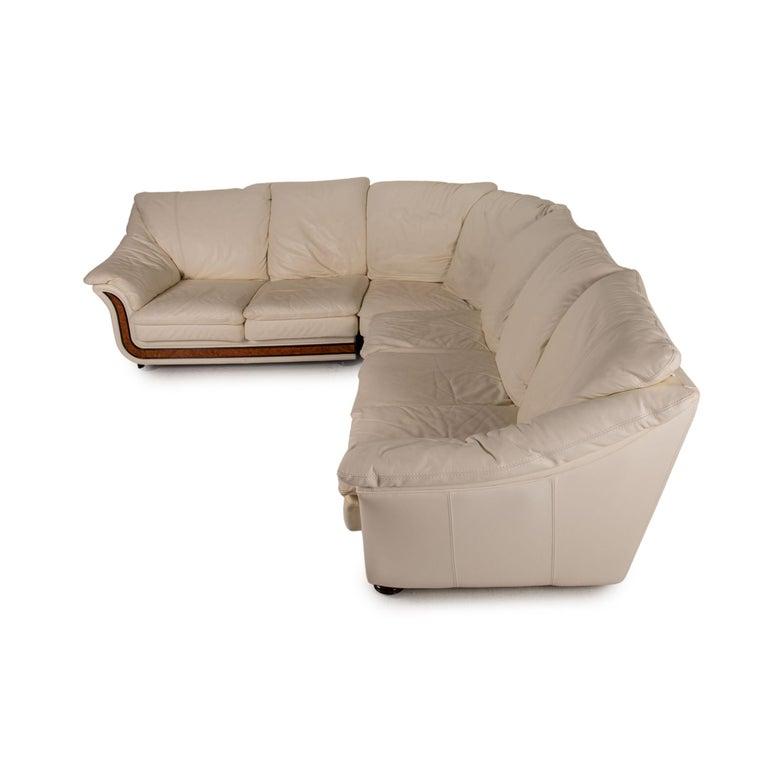 Nieri Corniche Leather Sofa Cream Corner Sofa Couch For Sale 5