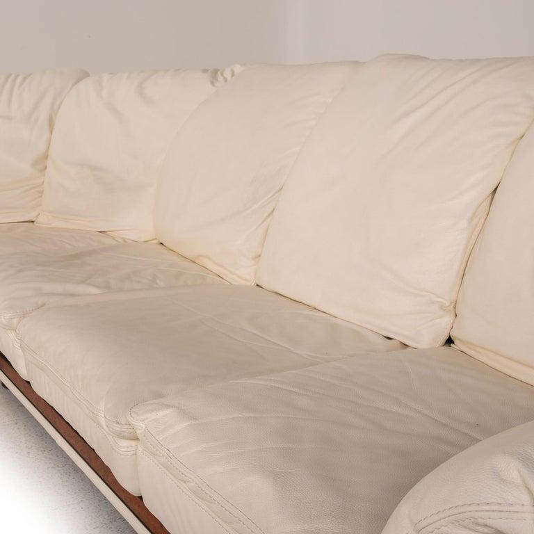 Italian Nieri Corniche Leather Sofa Cream Corner Sofa Couch For Sale