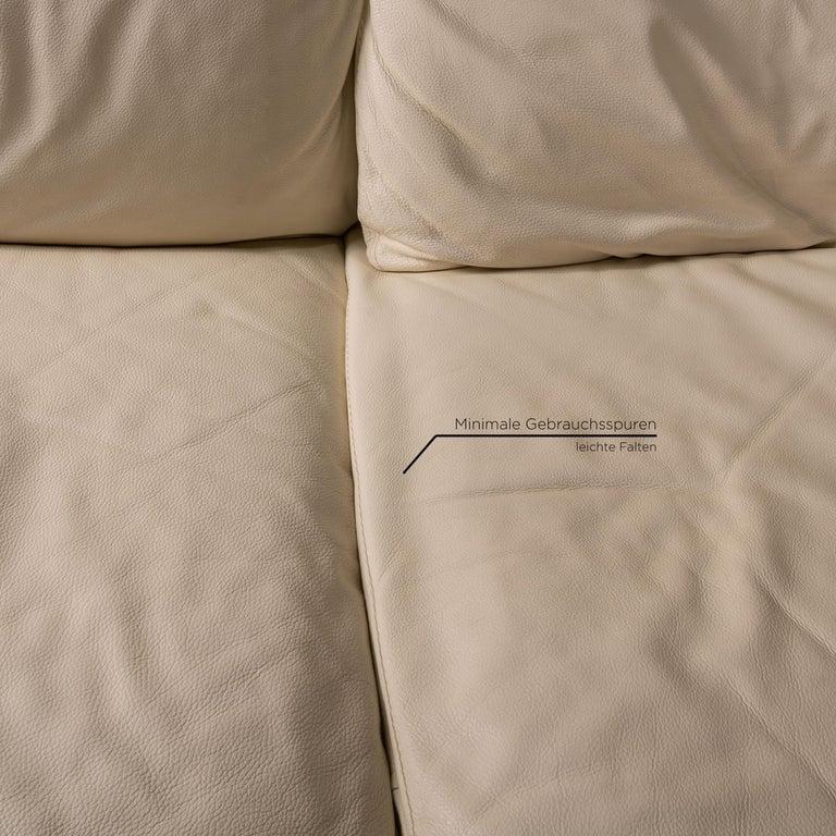 Nieri Corniche Leather Sofa Cream Corner Sofa Couch In Good Condition For Sale In Cologne, DE
