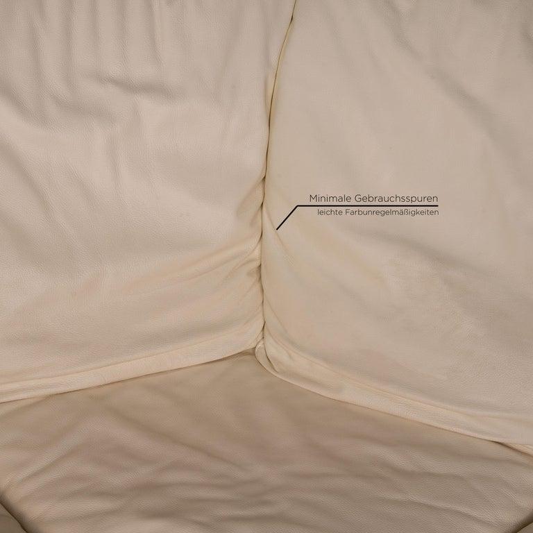 Contemporary Nieri Corniche Leather Sofa Cream Corner Sofa Couch For Sale