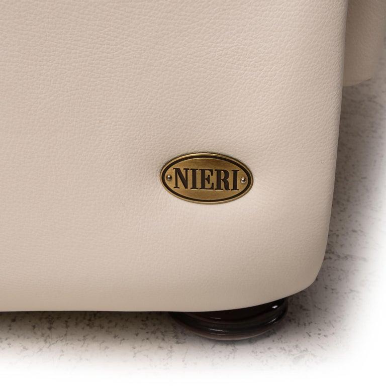 Nieri Corniche Leather Sofa Cream Corner Sofa Couch For Sale 2
