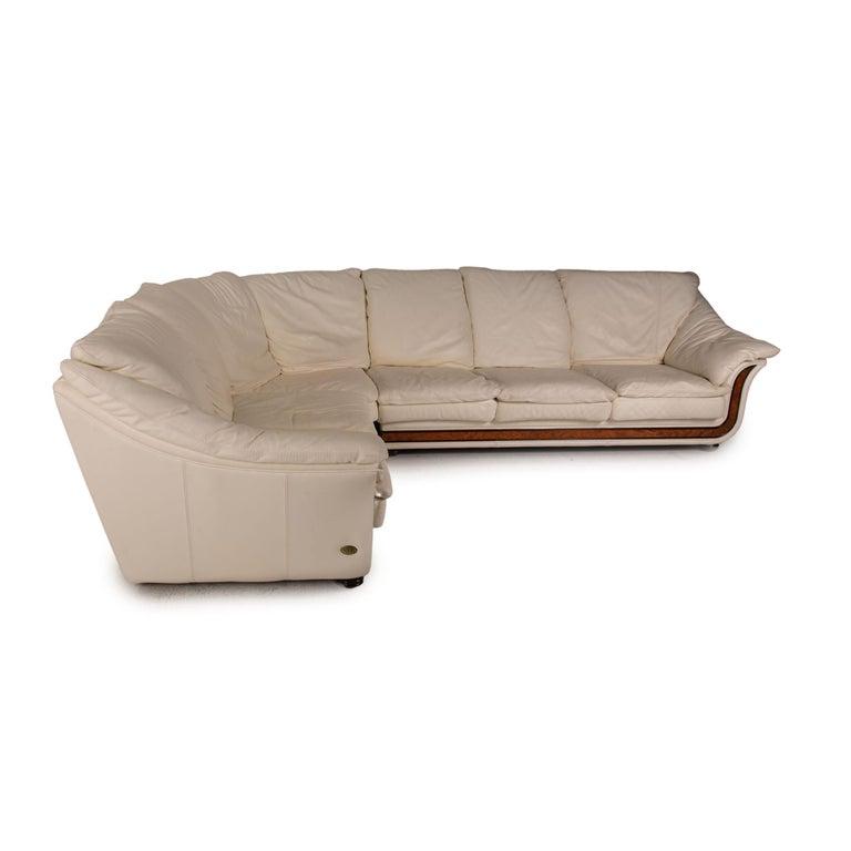 Nieri Corniche Leather Sofa Cream Corner Sofa Couch For Sale 3