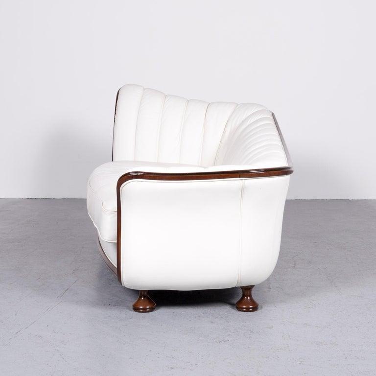 Nieri Designer Leather Sofa Crème Three-Seat Couch 5
