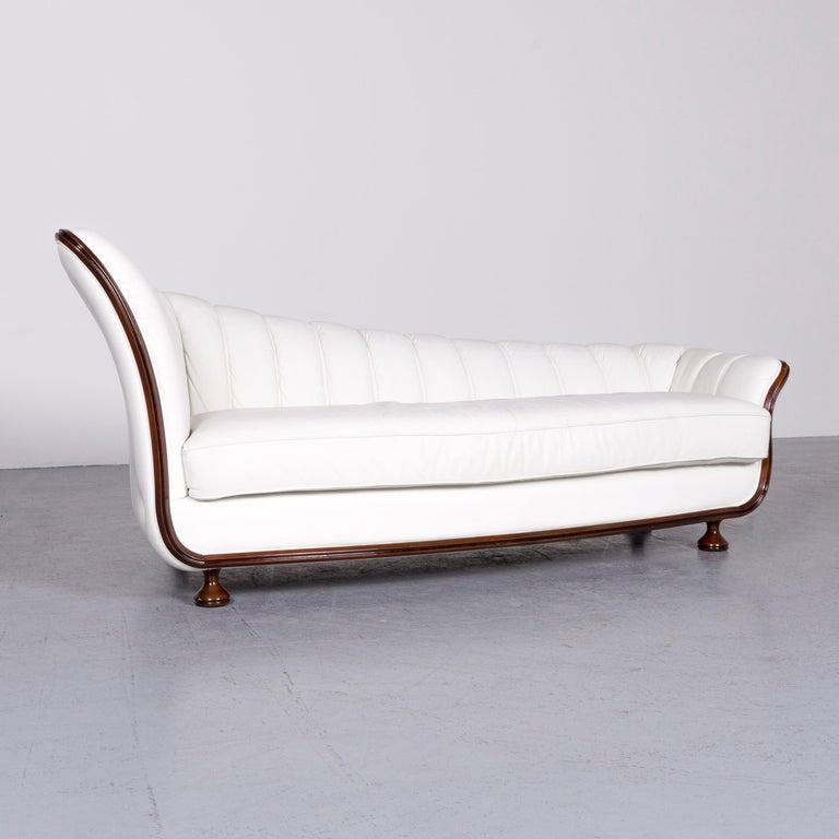 Italian Nieri Designer Leather Sofa Crème Three-Seat Couch