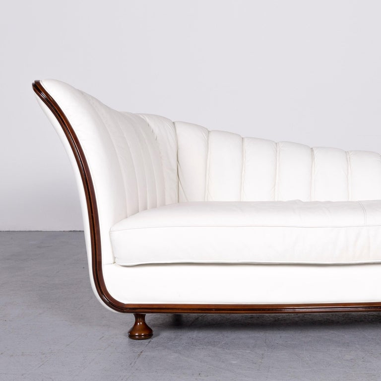 Nieri Designer Leather Sofa Crème Three-Seat Couch In Good Condition In Cologne, DE