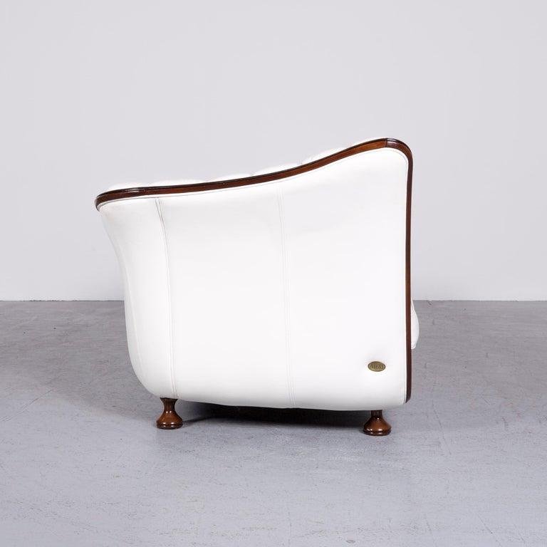 Nieri Designer Leather Sofa Crème Three-Seat Couch 3