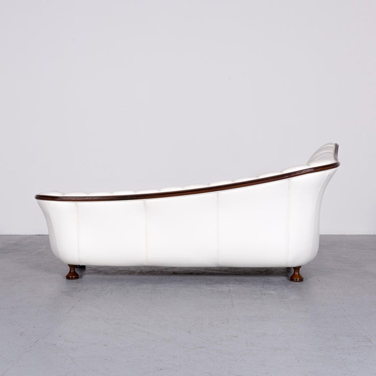 Nieri Designer Leather Sofa Crème Three-Seat Couch 4