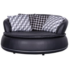Nieri Espace Designer Leather Sofa Black Genuine Leather Two-Seat Couch Round