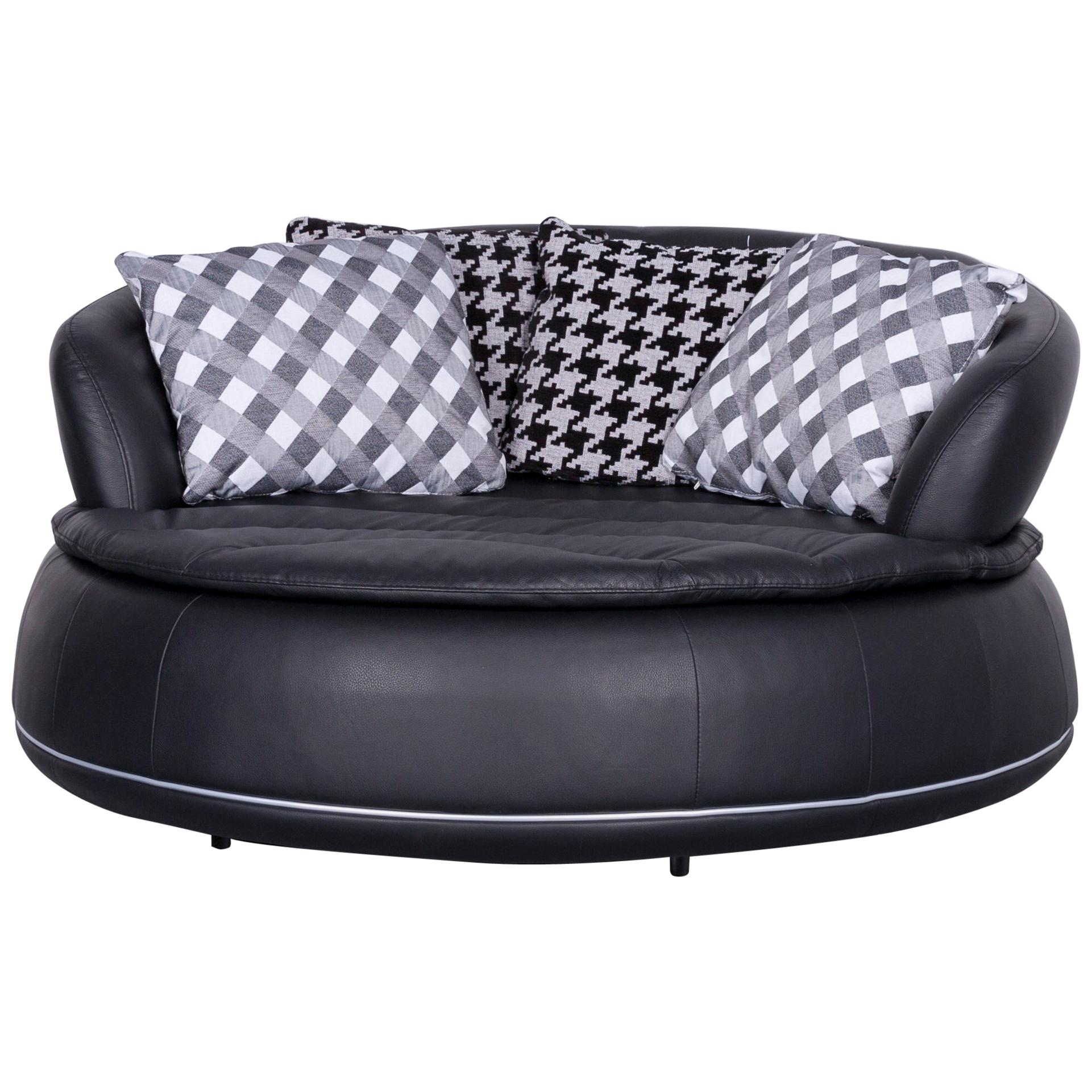 Awesome Nieri Espace Loveseat Designer Sofa Black Two Seat Round Lounge Couch For  Sale