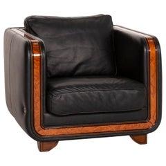 Nieri Leather Armchair Black