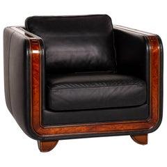 Nieri Leather Armchair Black Wood