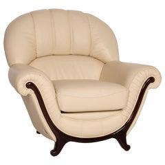 Nieri Leather Armchair Cream Wood