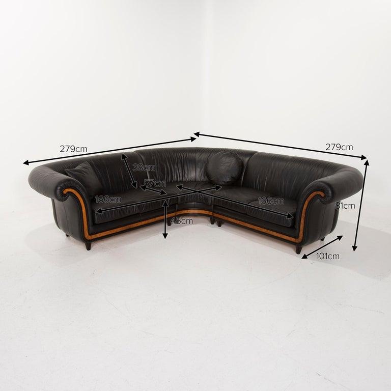 Nieri Leather Sofa Black Corner Sofa In Good Condition In Cologne, DE