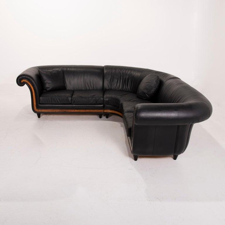 Nieri Leather Sofa Black Corner Sofa 1