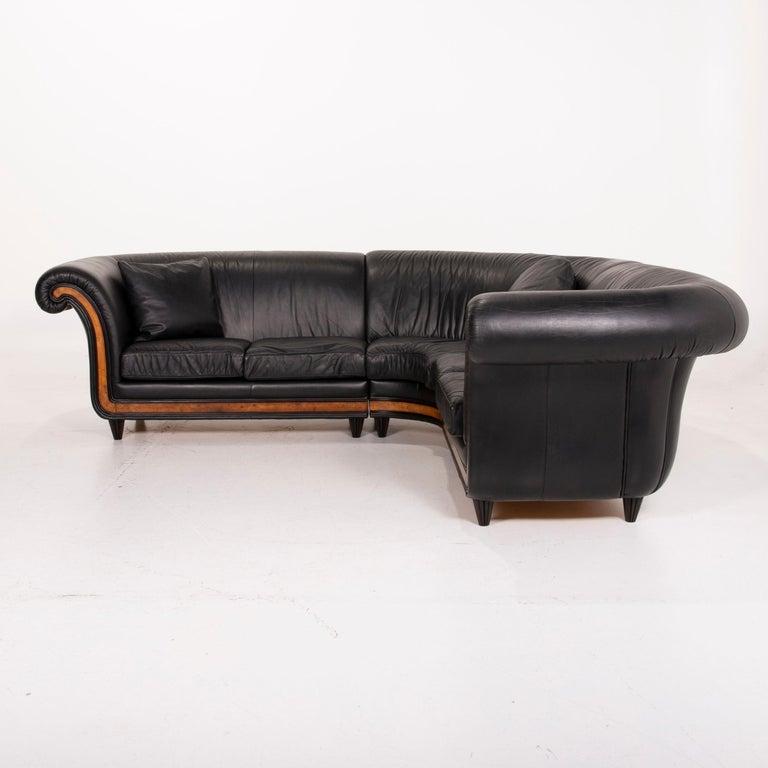 Nieri Leather Sofa Black Corner Sofa 2