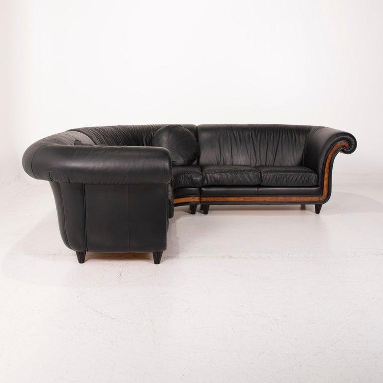 Nieri Leather Sofa Black Corner Sofa 3