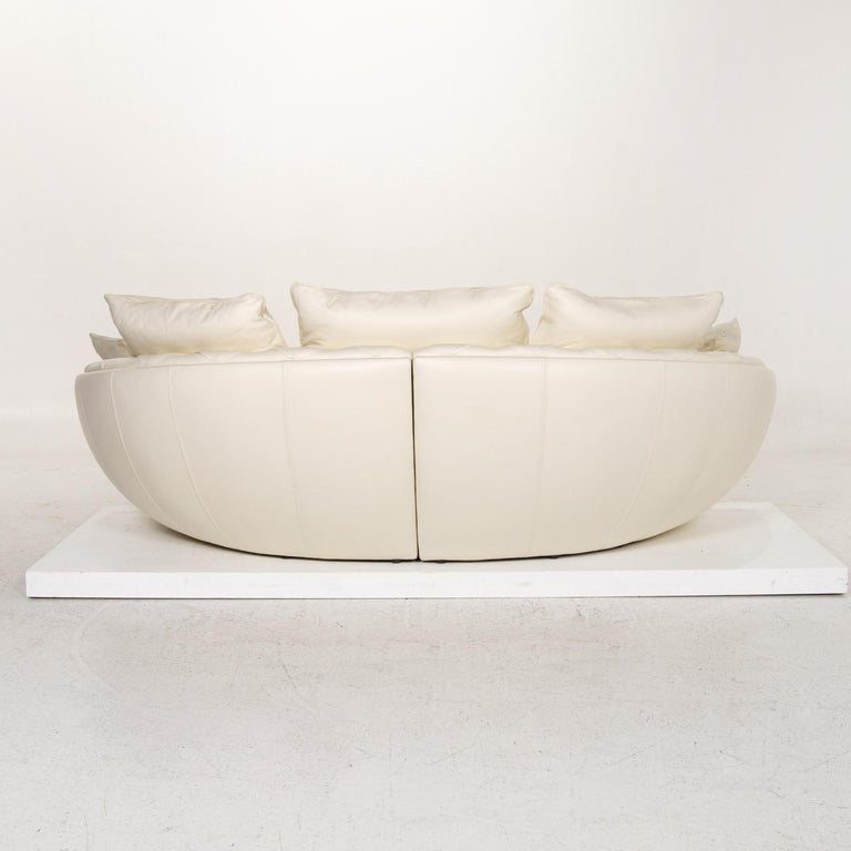 Nieri Leather Sofa Cream Four-Seat Couch For Sale 5