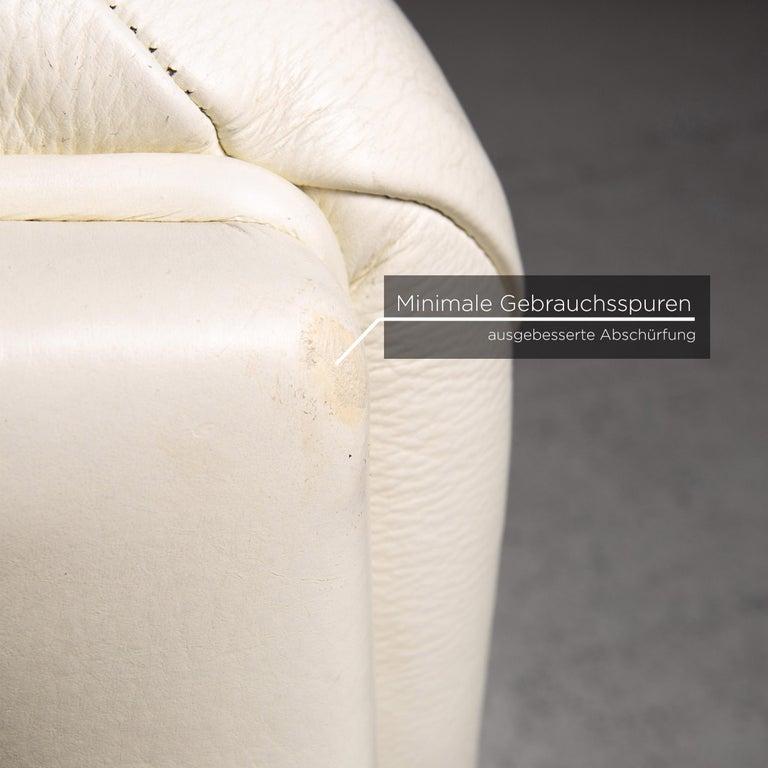 Italian Nieri Leather Sofa Cream Four-Seat Couch For Sale