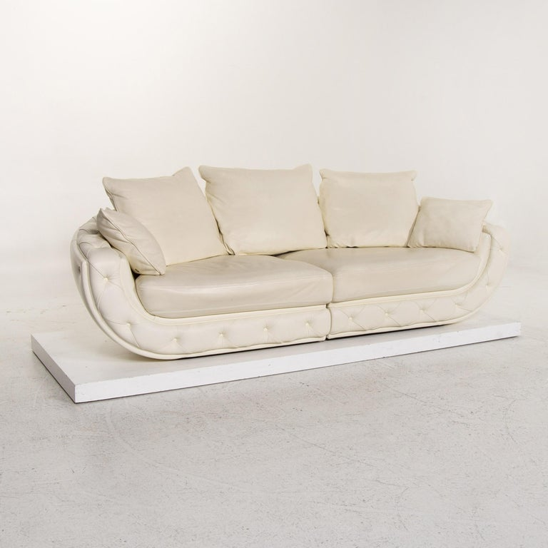 Nieri Leather Sofa Cream Four-Seat Couch For Sale 2