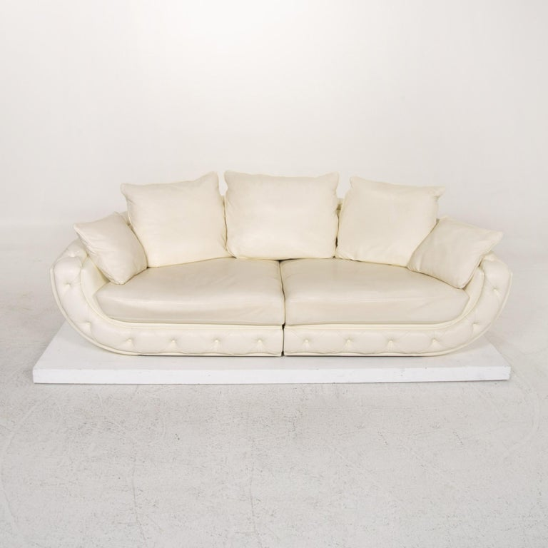 Nieri Leather Sofa Cream Four-Seat Couch For Sale 3