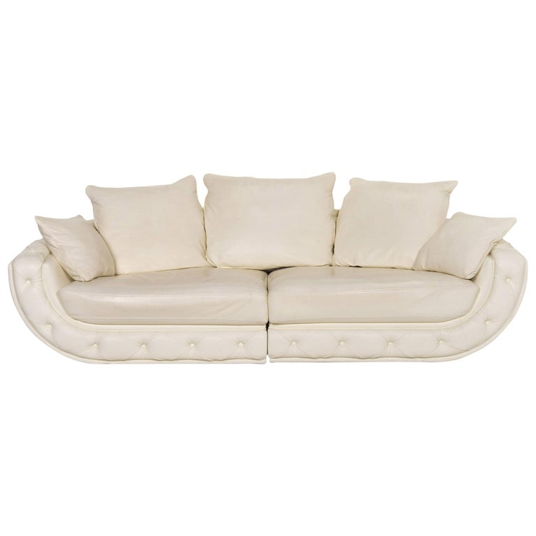 Nieri Leather Sofa Cream Four-Seat Couch For Sale