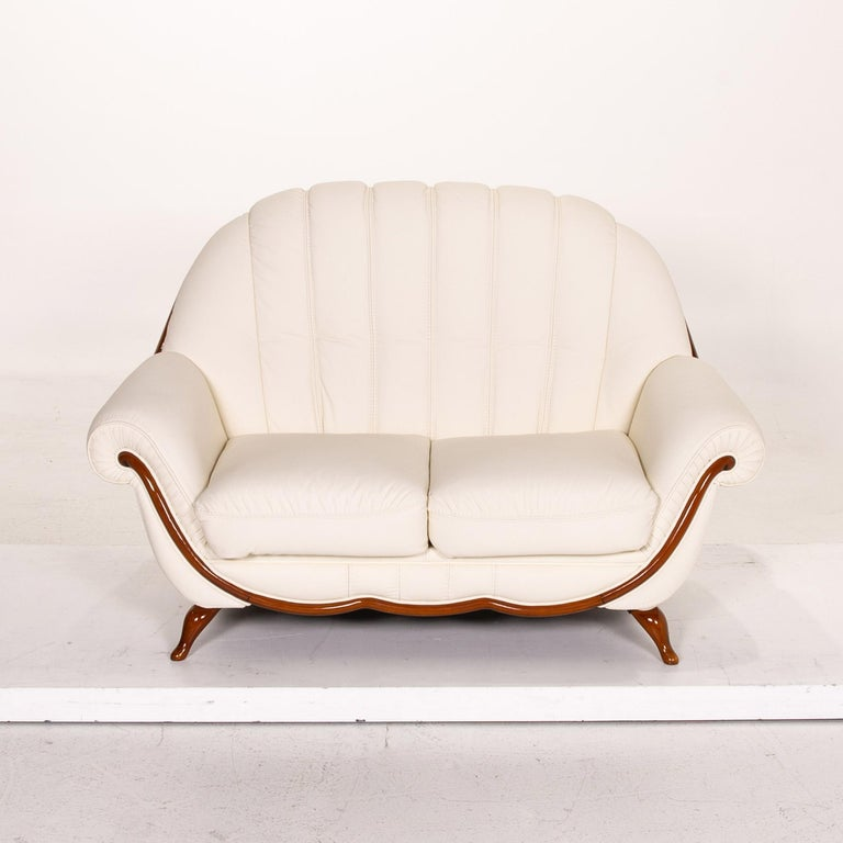 Nieri Leather Sofa Cream Two-Seat Couch 1