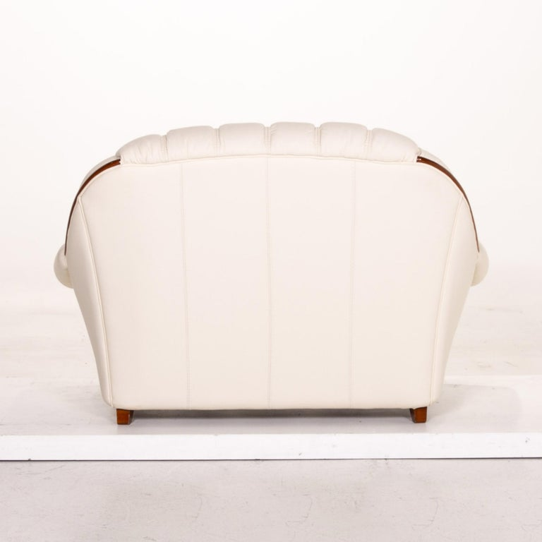 Nieri Leather Sofa Cream Two-Seat Couch 3