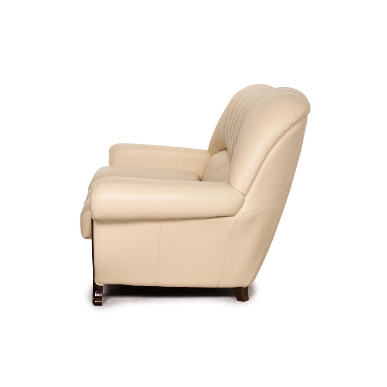 Nieri Leather Wood Sofa Cream Three-Seater Couch For Sale 4