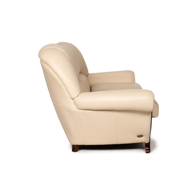 Nieri Leather Wood Sofa Cream Three-Seater Couch For Sale 2