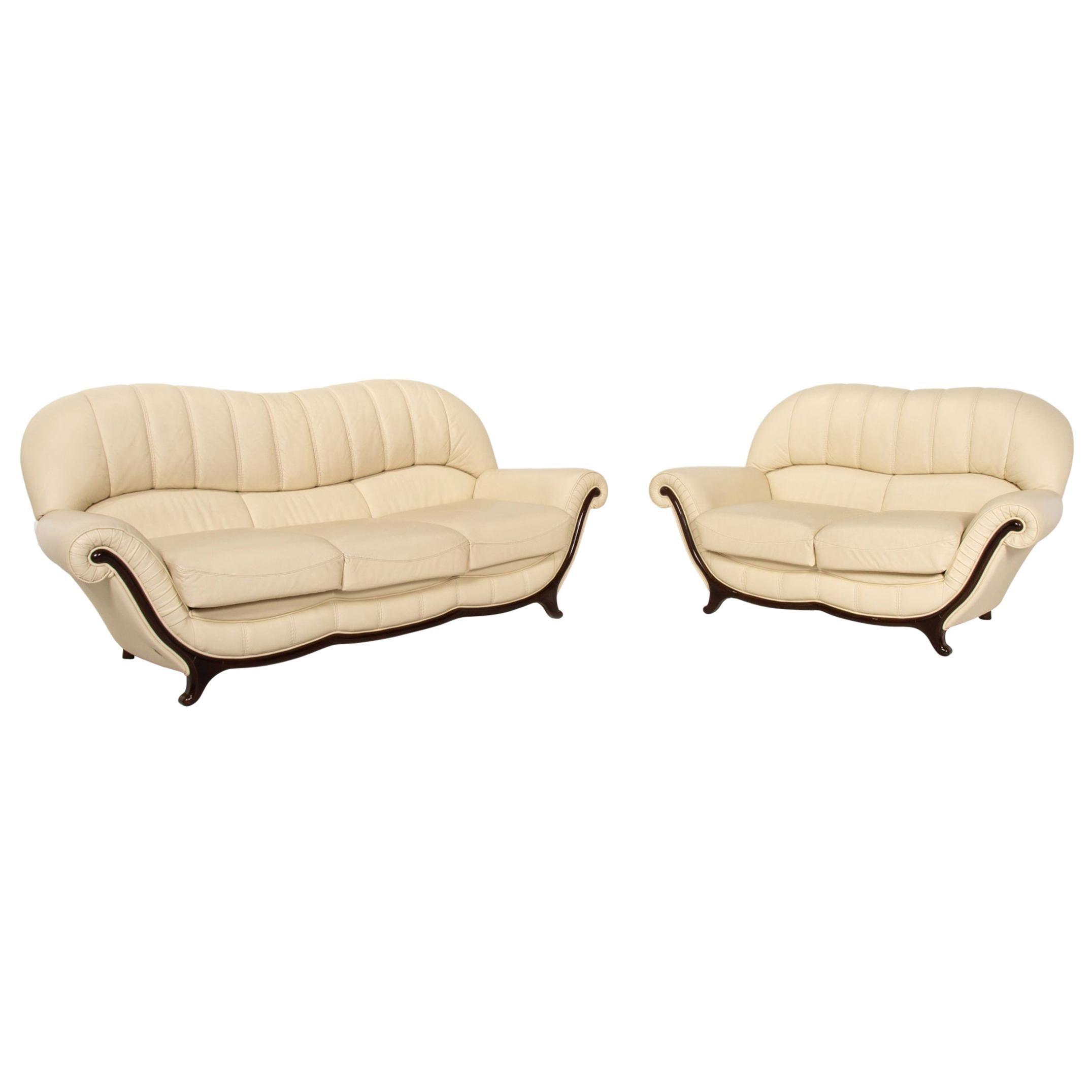 Nieri Leather Wood Sofa Set Cream 1 Three-Seater 1 Two-Seater