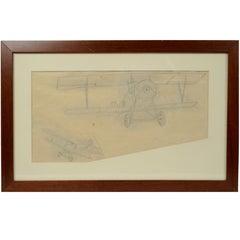 Pencil-drawing depicting a Nieuport 11 Bebe WWI Aircraft