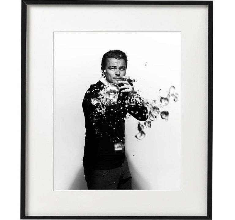Nigel Parry Black and White Photograph - Leonardo DiCaprio spilling - portrait of the Hollywood movie star