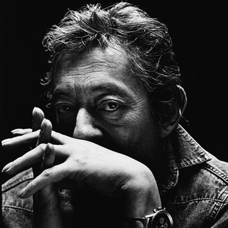 Serge Gainsbourg -  black & white portrait of the French icon and musician.  - Photograph by Nigel Parry