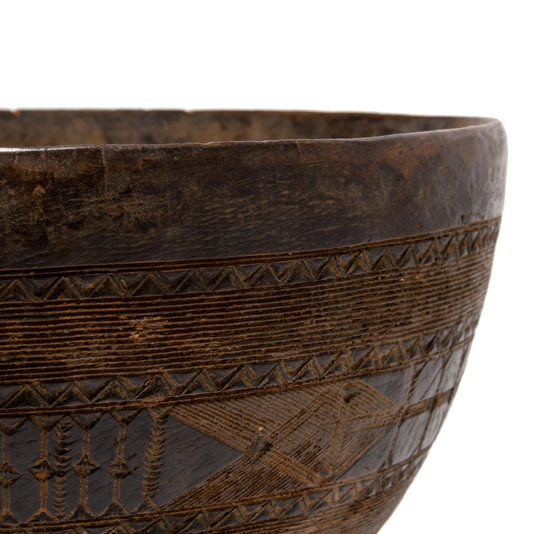 Wood Nigerian Fulani Incised Bowl