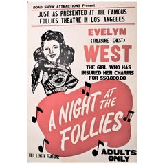 """""""Night at the Follies"""" 1947 Original Linen Backed Theatrical Poster Evelyn West"""