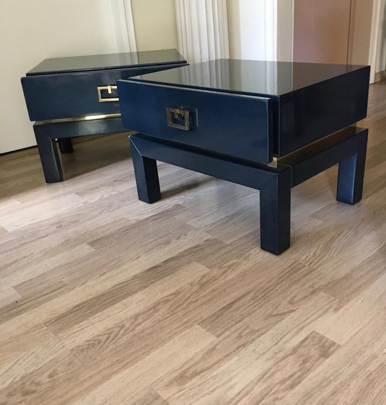 Lacquered Night Blue Lacquer Side Tables with Brass Details by Maison Jansen, France 1975 For Sale