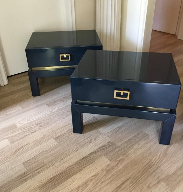 Late 20th Century Night Blue Lacquer Side Tables with Brass Details by Maison Jansen, France 1975 For Sale
