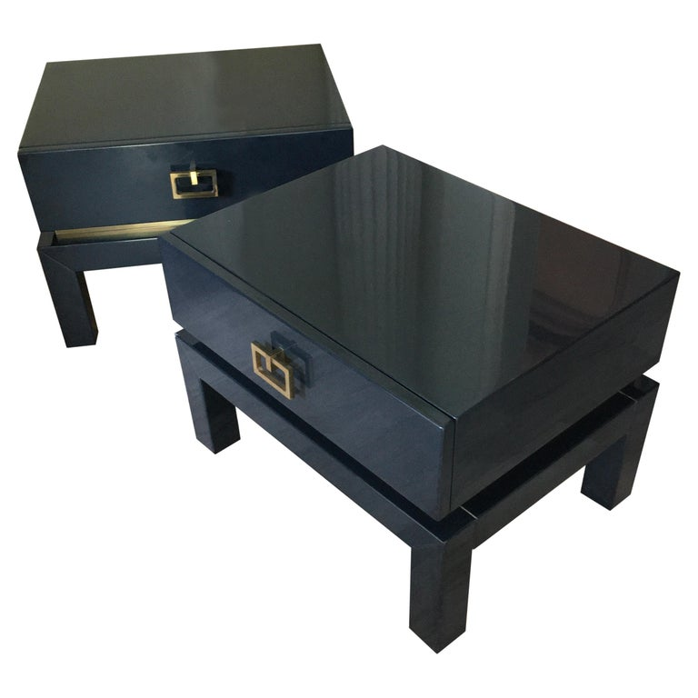 Night Blue Lacquer Side Tables with Brass Details by Maison Jansen, France 1975 For Sale
