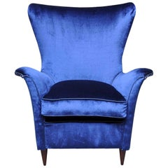 Night Blue Silk Armchair