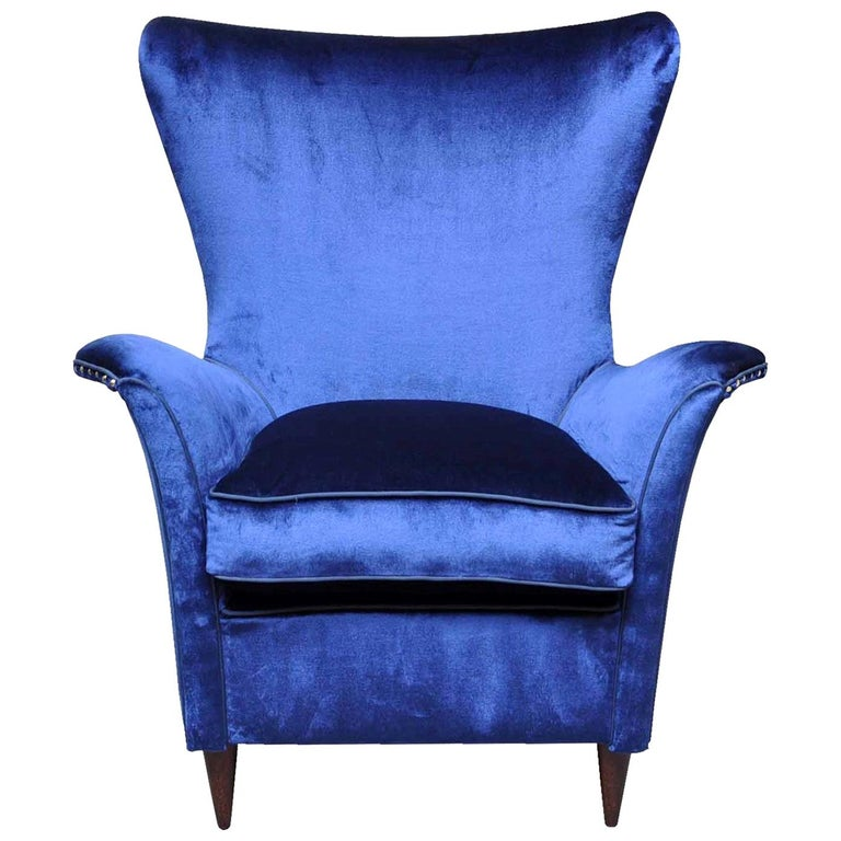 Night Blue Silk Armchair For Sale at 1stdibs