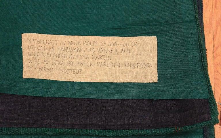"""Night Mirror"" by Brita Molin Vintage Scandinavian Carpet. Size: 9' x 13' 7"