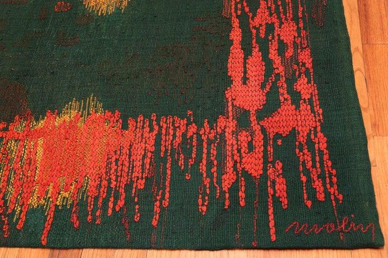 "Hand-Woven ""Night Mirror"" by Brita Molin Vintage Scandinavian Carpet. Size: 9' x 13' 7"